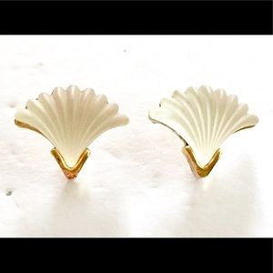 Whiting & Davis frosted Glass Shell Earrings